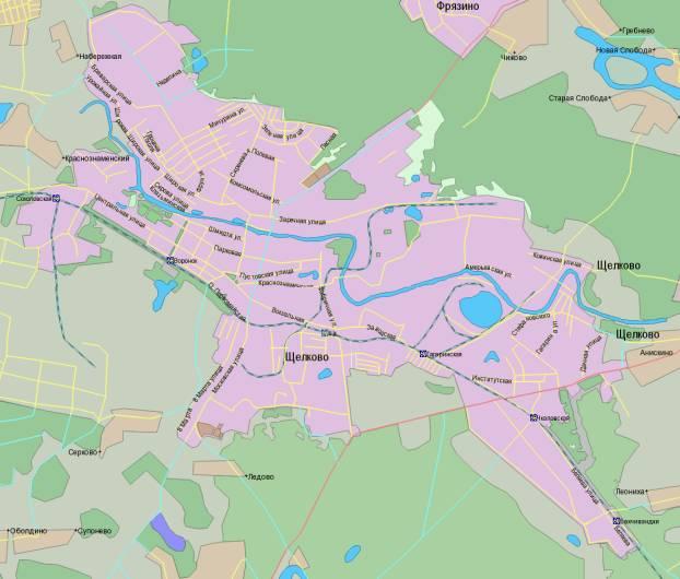 Рисунок 1 Карта г. Щелково